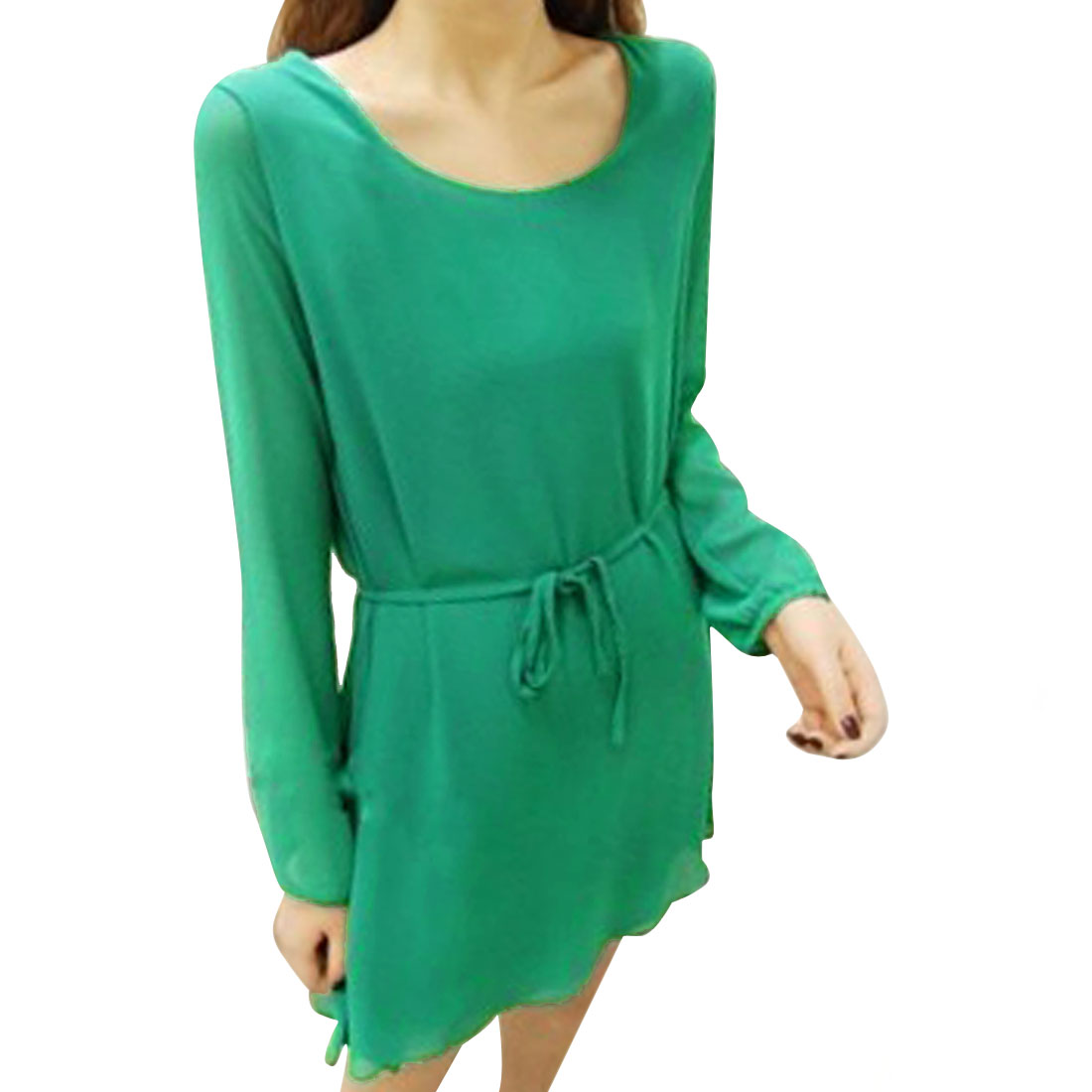 Ladies Pullover Belted Design Lined Green Chiffon Mini Dress XS