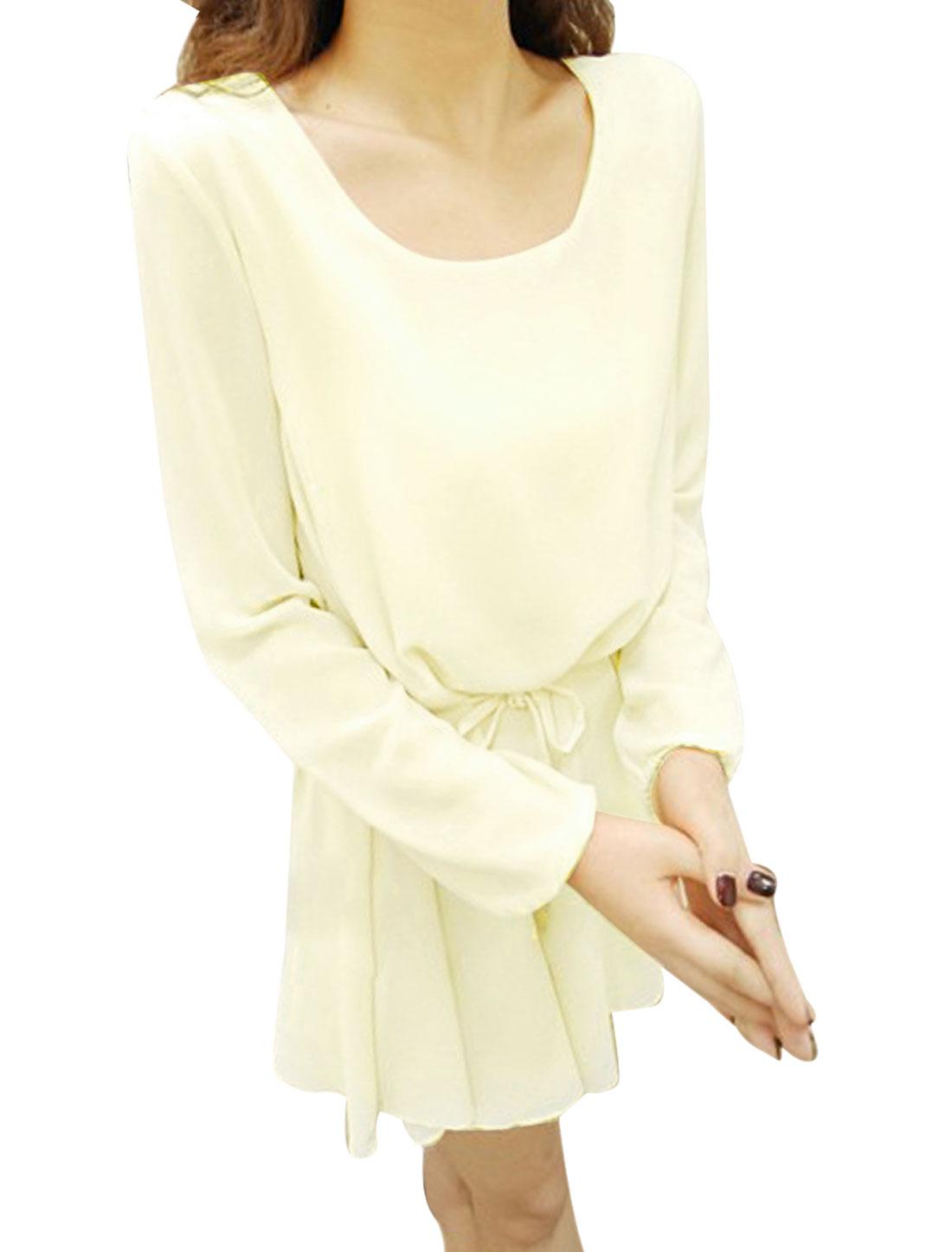 Woman Round Neck Long Sleeve Belted Loose Beige Chiffon Mini Dress XS