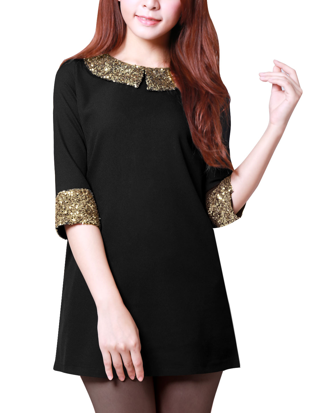 Women's Point Collar Sequin Decor 3/4 Sleeve Zip Back Black S Dress