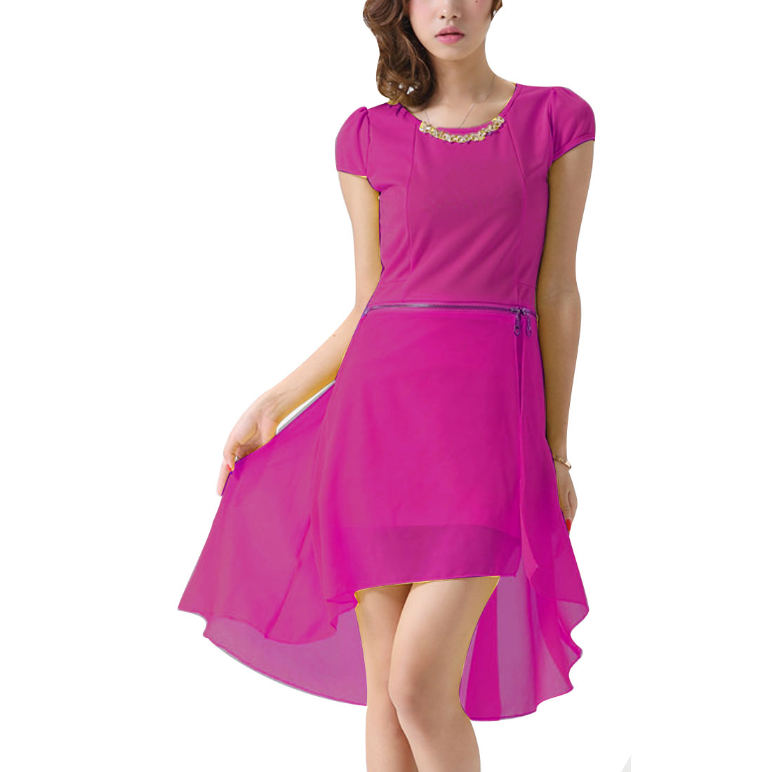 Ladies Chic Zipper Waist Irregular Hem Fuchsia Convertible Mini Dress XS