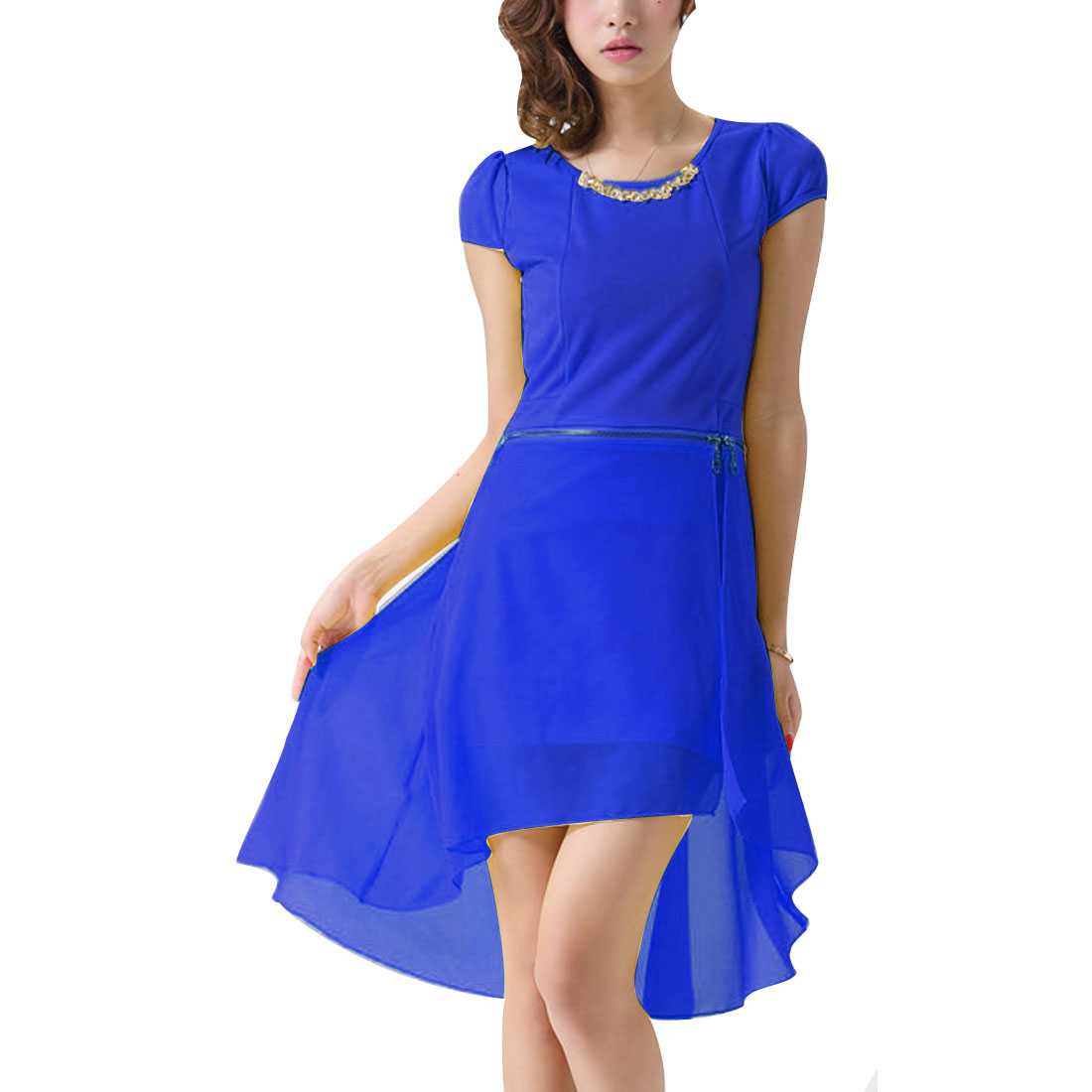 Women Pure Royalblue Round Neck Cap Sleeve Splice Convertible Dress XS