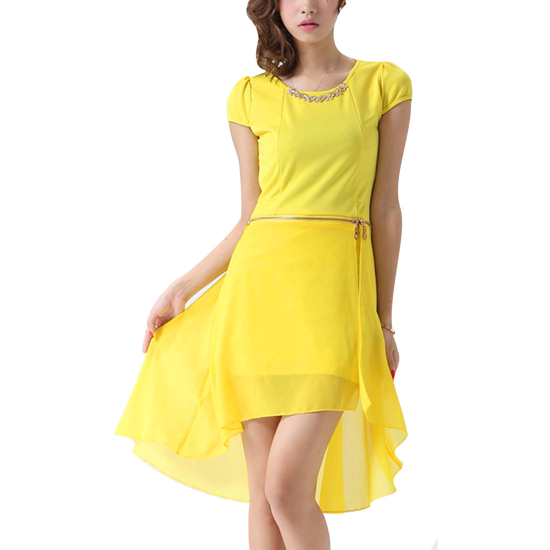 Round Neck Cap Sleeve Irregular Hem Yellow Mini Dress for Lady XS