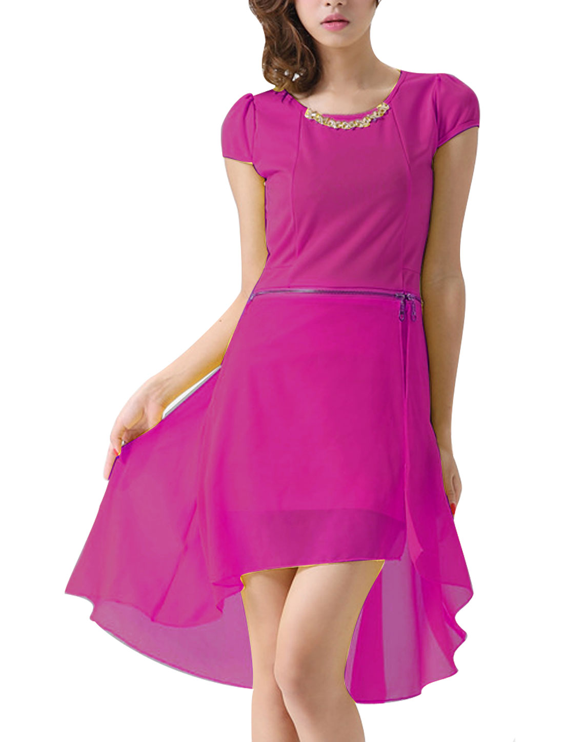 Woman Round Neck Cap Sleeve Irregular Hem Fuchsia Convertible Mini Dress S