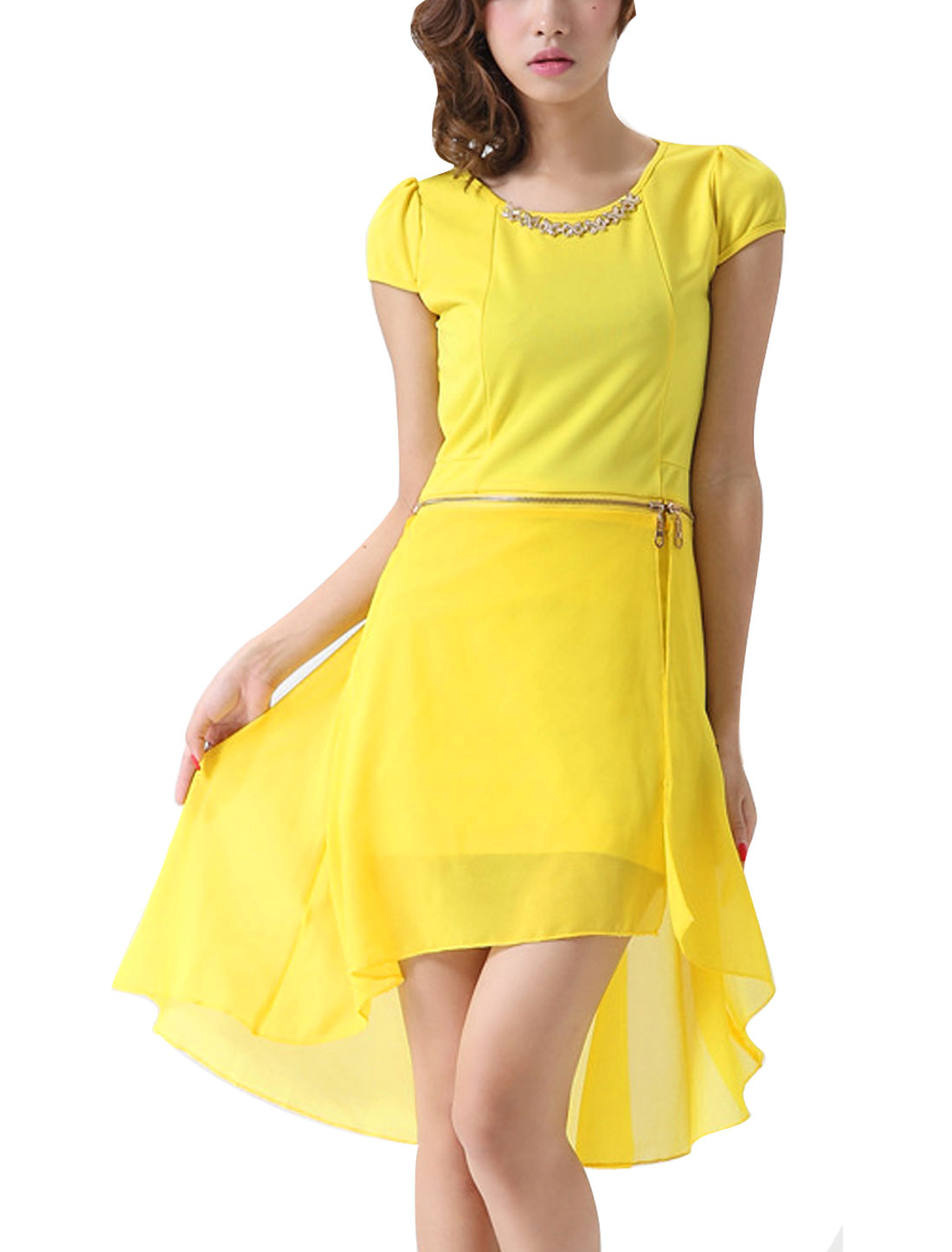 Ladies Chic Round Neck Cap Sleeve Asymmetric Hem Yellow Mini Dress S