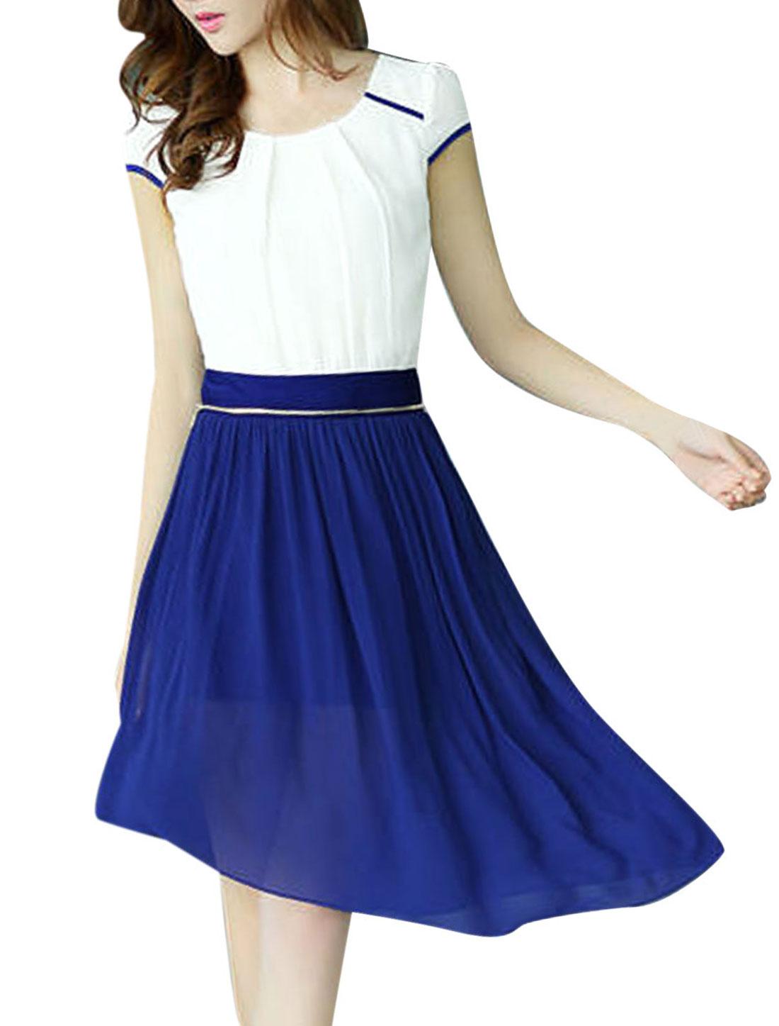 Women NEW Conceal Zipper Side Irregular Hem Royalblue White Dress XS