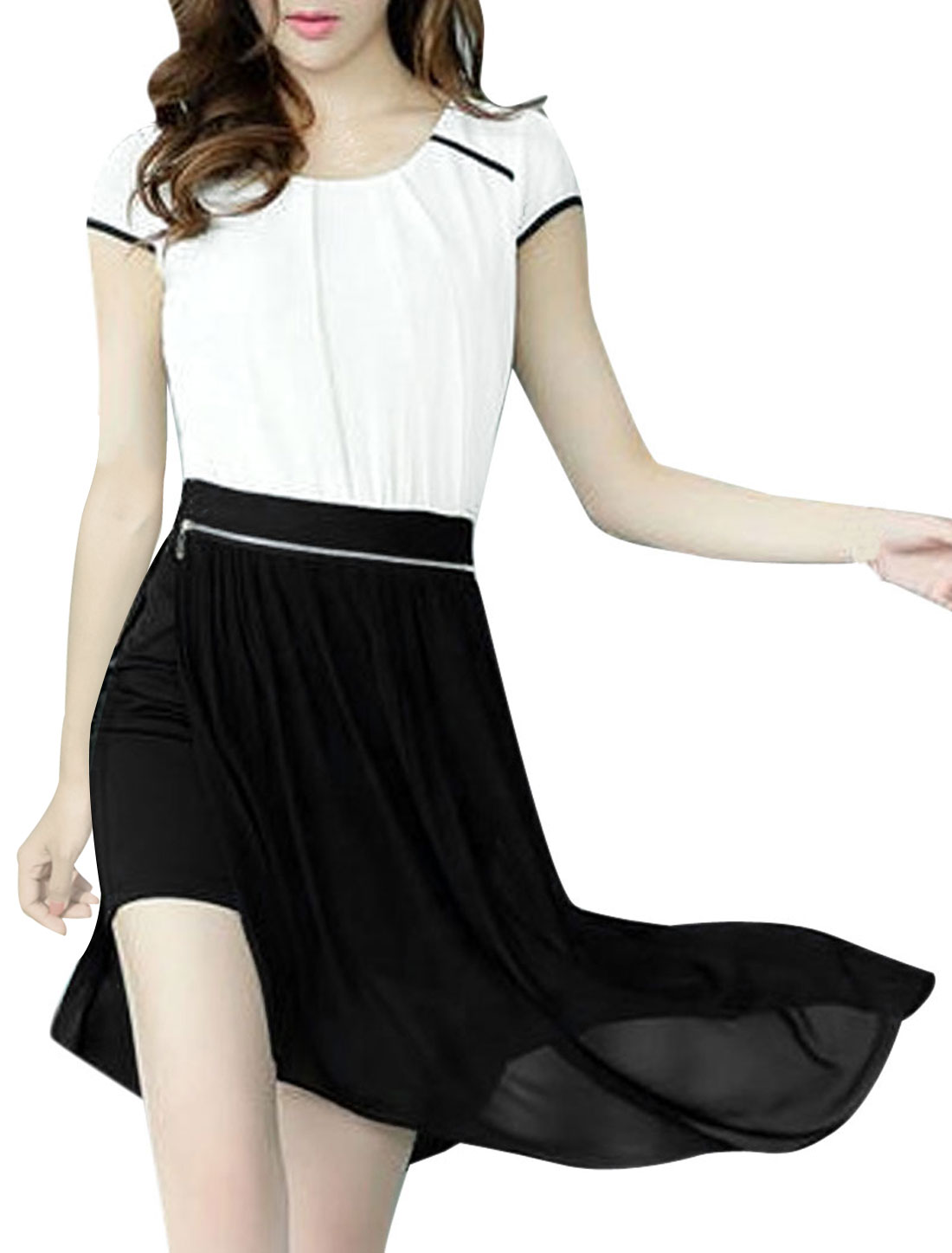 Women Chic Conceal Zipper Side Irregular Hem Black White Casual Dress XS