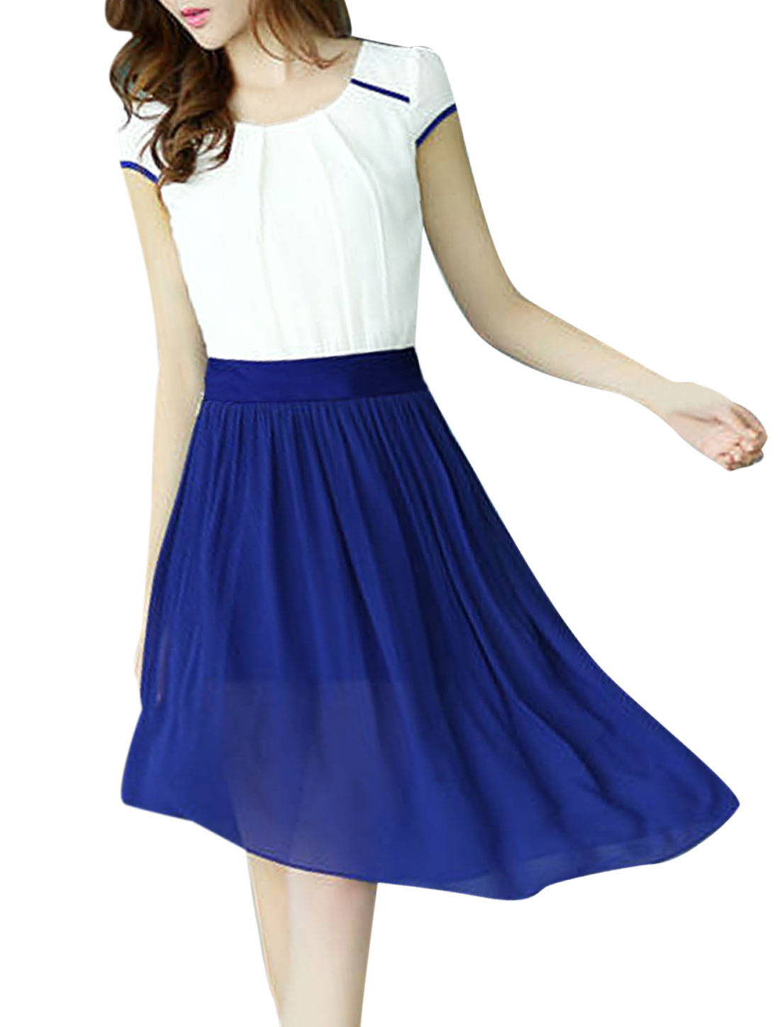Pullover Contrast Color Royalblue White Convertible Dress for Lady S