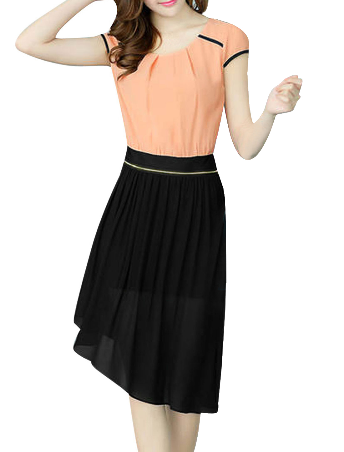 Woman Round Neck Cap Sleeve Irregular Hem Pink Black Convertible Mini Dress S