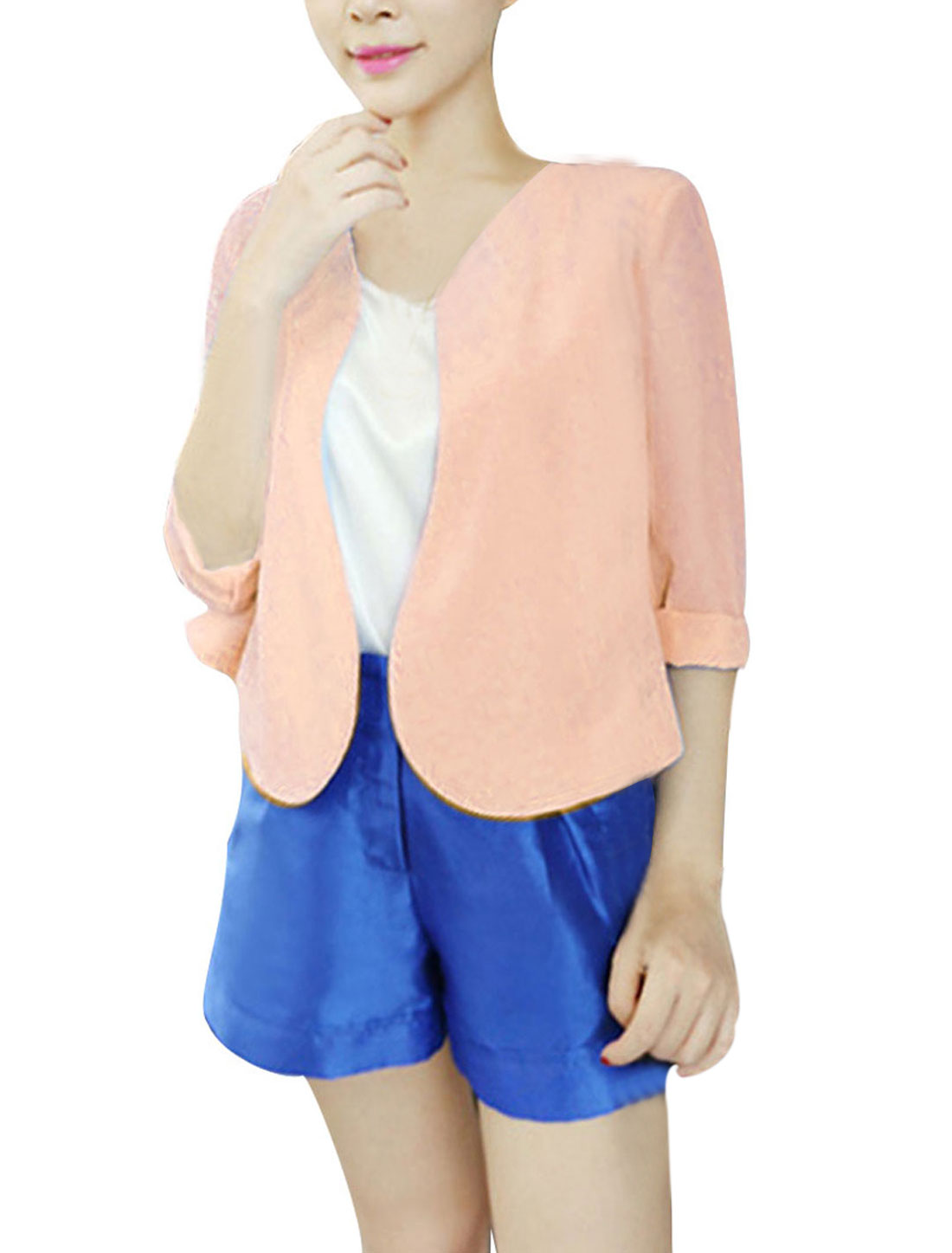 Women Stylish 3/4 Sleeve Padded Shoulder Design Light Pink Cadigan Coat XS