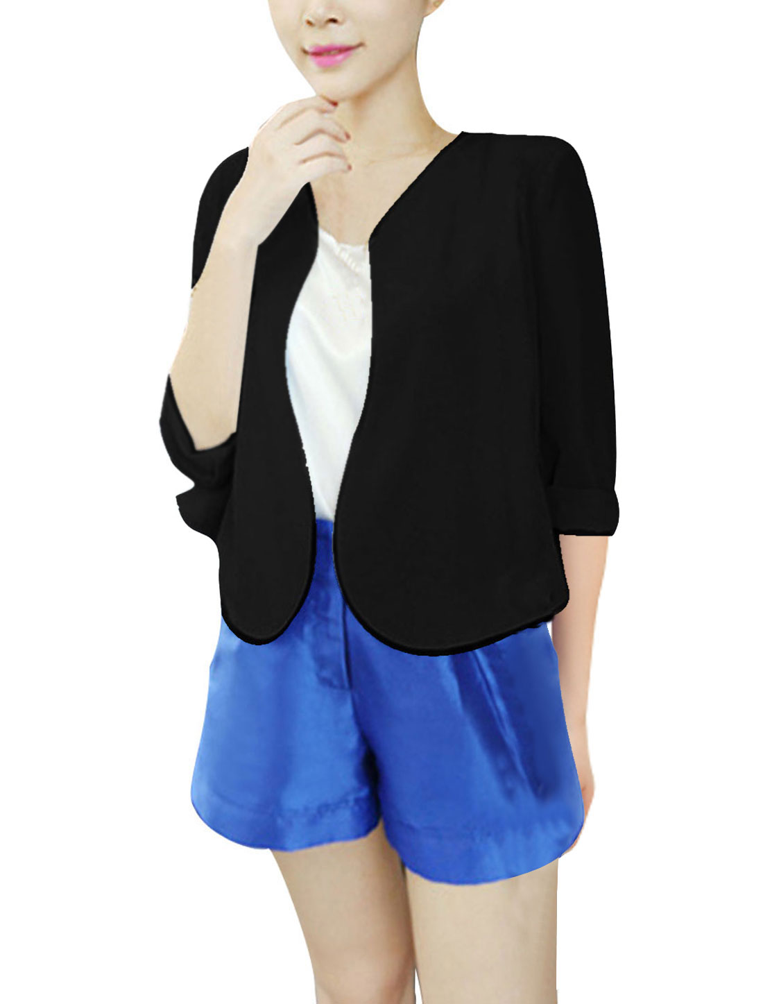 Ladies NEW Fashion Padded Shoulder Front Opening Black Cardigan Coat XS