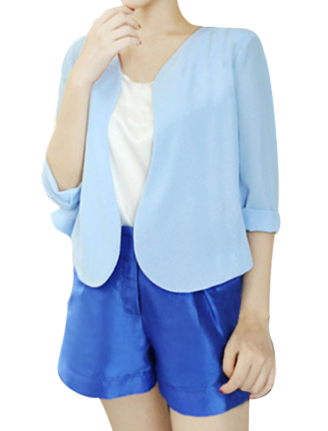 NEW Fashion Front Opening Light Blue Chiffon Cardigan Coat for Lady XS