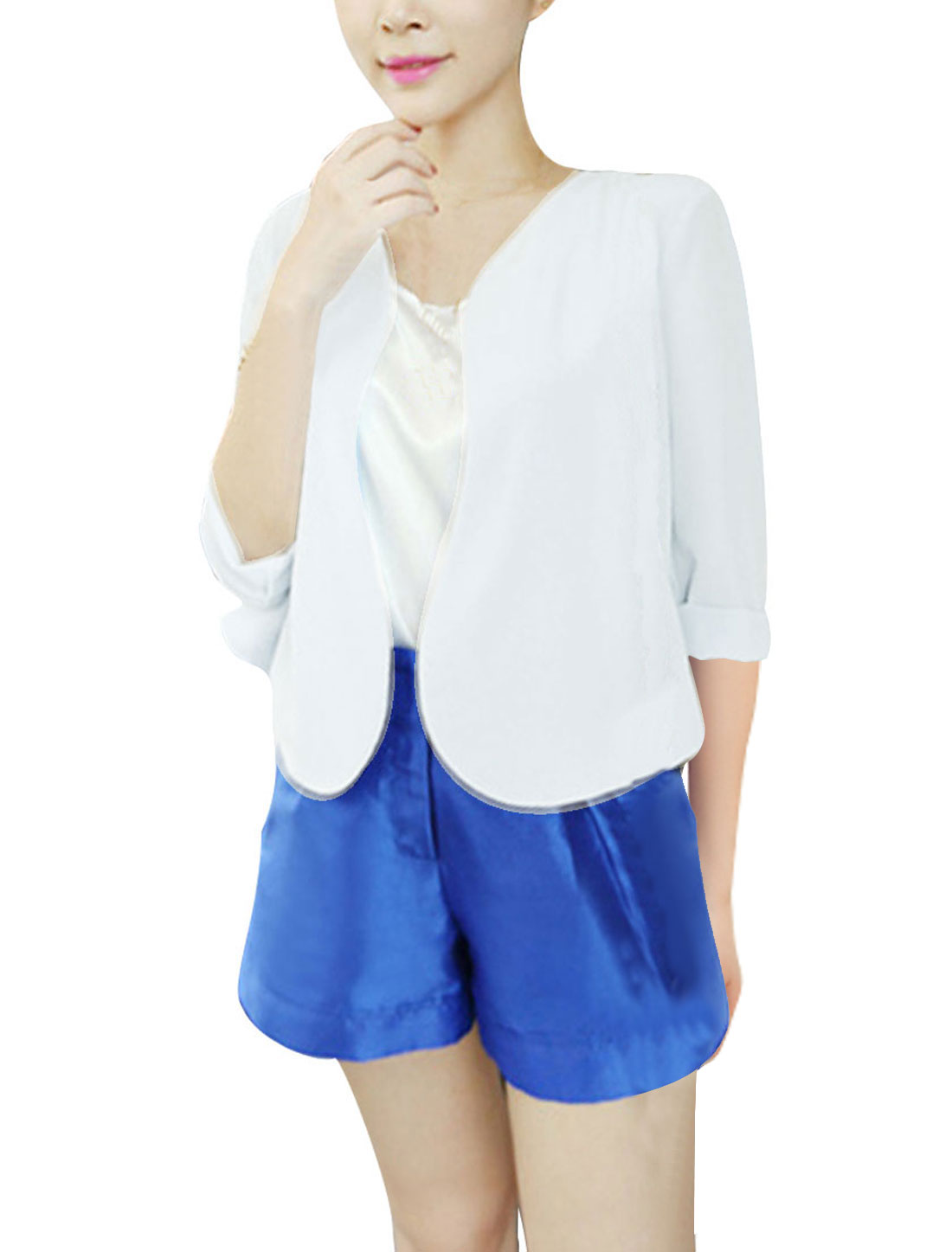 Woman Chic 3/4 Sleeve Front Opening Design White Chiffon Cardigan Coat XS