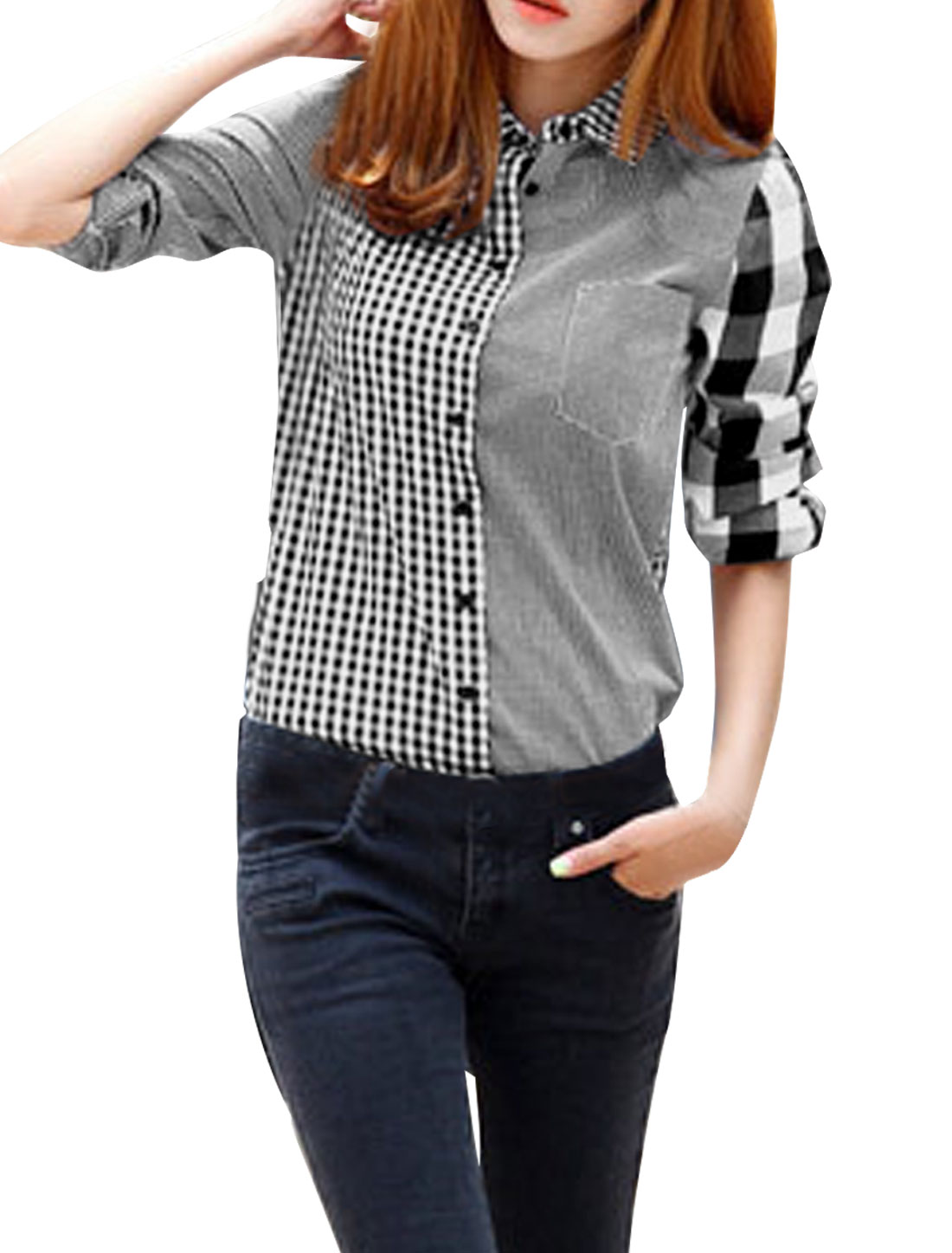 Women Point Collar Long Sleeves Button Up Plaids Shirt Gray S