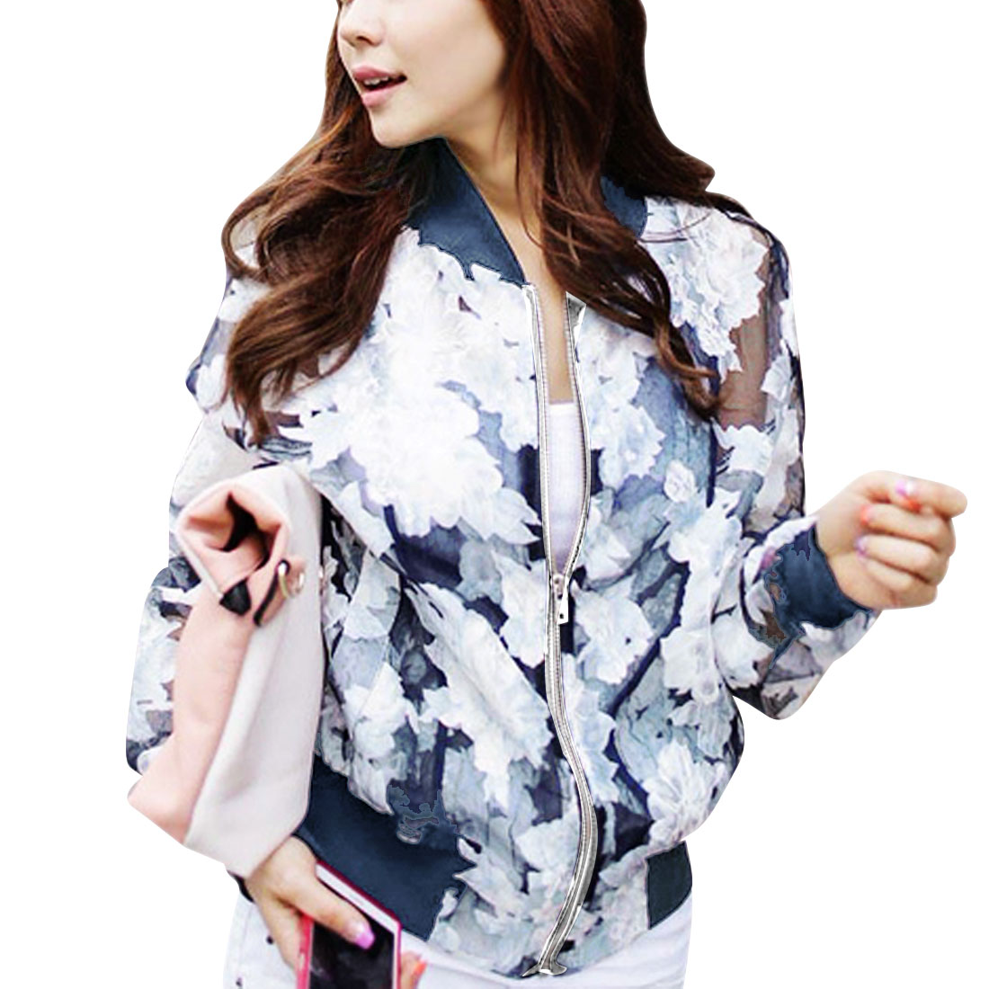 Women's Stand Collar Zip Up Flower Pattern Semi-sheer Long Sleeve Jacket Blue S