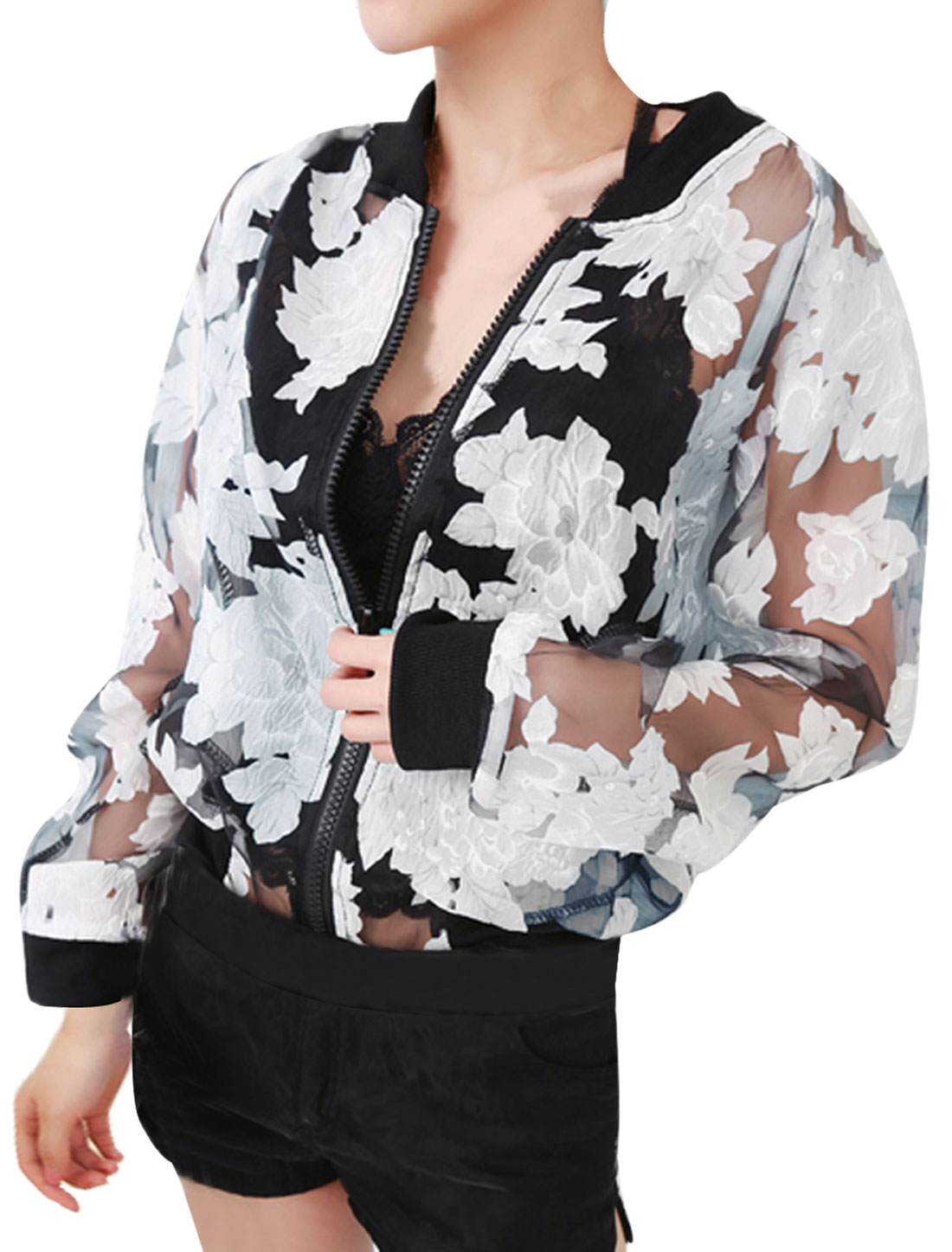 Women's Stand Collar Long Sleeves Semi-sheer Flower Zip Up Black S Jacket Top