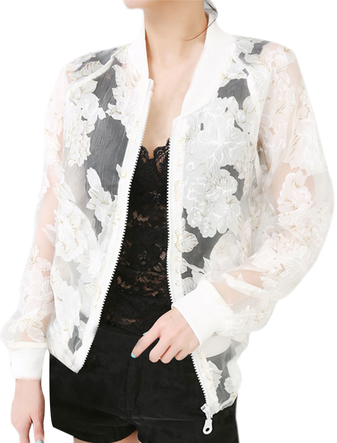Women's Fashion Stand Collar Flower Printed Semi-sheer White S Thin Jacket