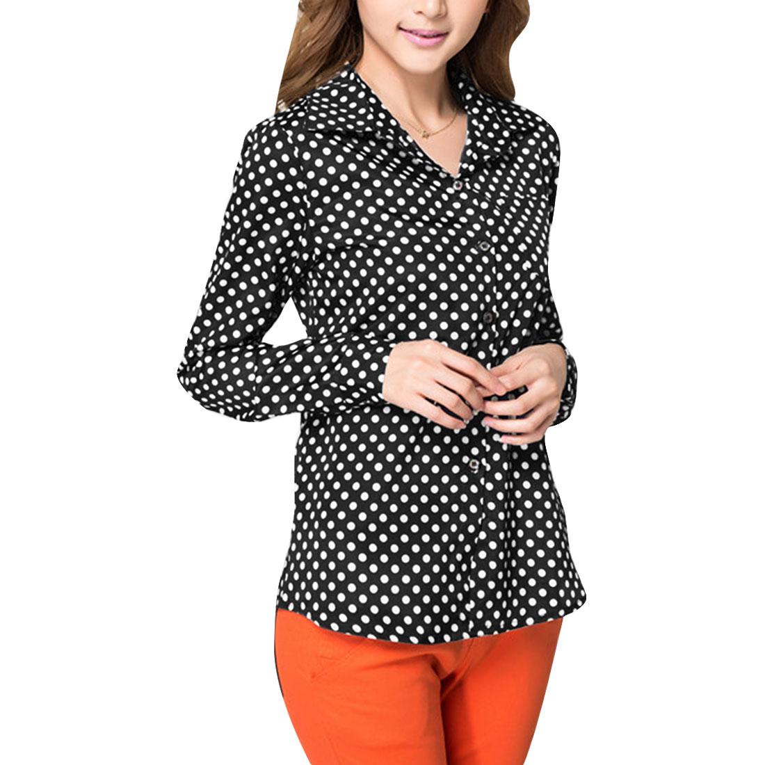 Woman Point Collar Long Polka-Dots Pattern Black Button Down Shirt XS