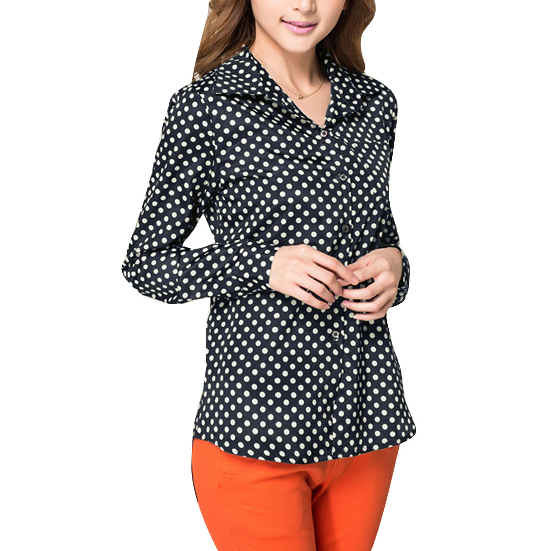 Ladies Chic Point Collar Long Sleeved Dark Blue Button Down Shirt XS