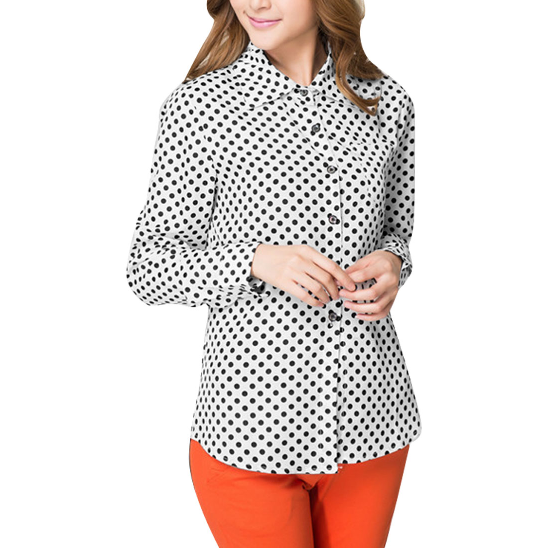 Chic Dots Pattern Chest Pockets Design White Button Down Shirt for Lady S