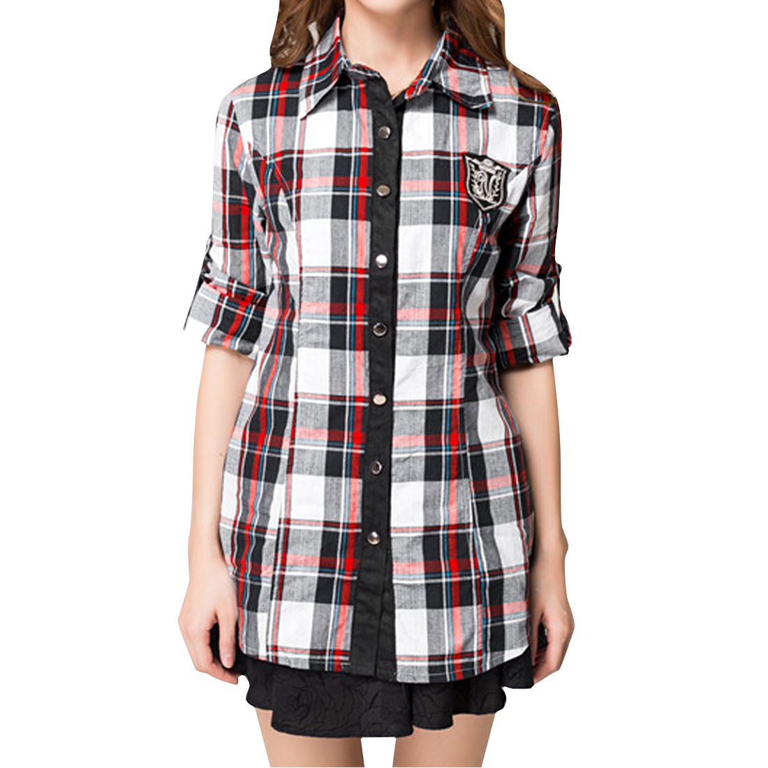 Women's Fashion Red Plaids Long Sleeve Round Hem Leisure Shirt S