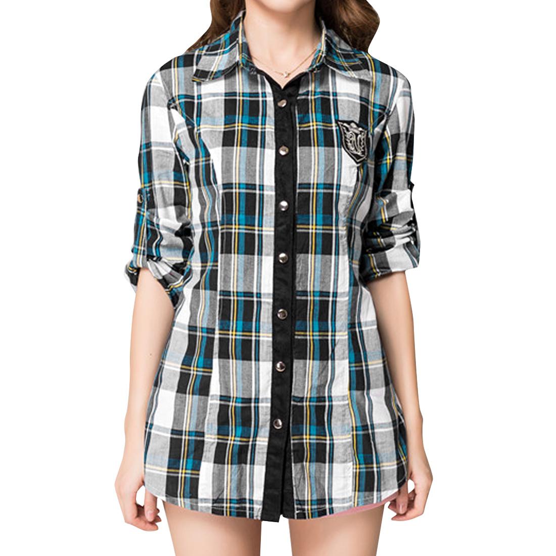 Women's Plaids Point Collar Long Sleeved Round Hem Buttoned Front Blue S Shirt