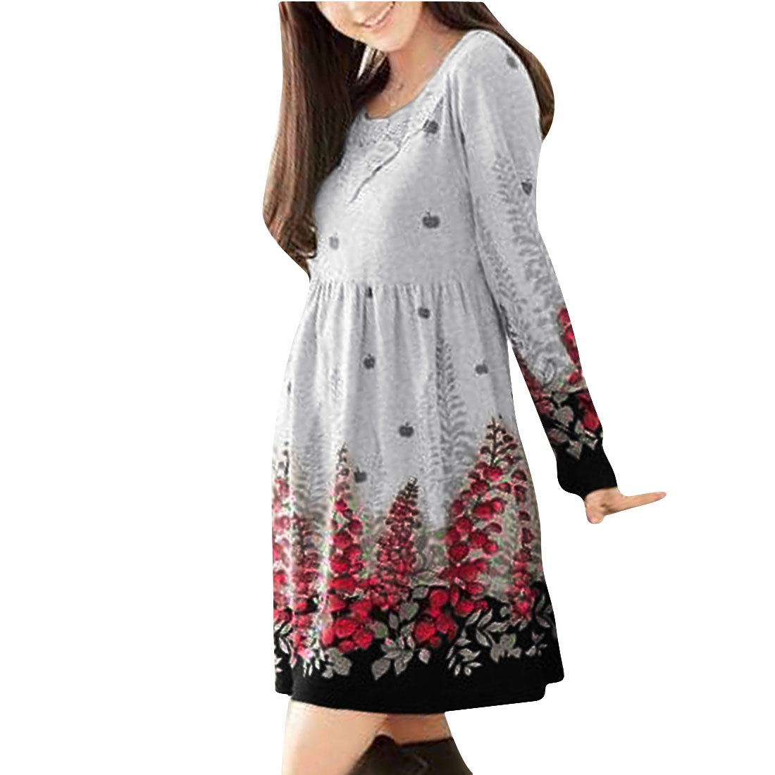 Women Round Neck Long Sleeve Flower Pattern Light Gray Red Knitted Mini Dress XS