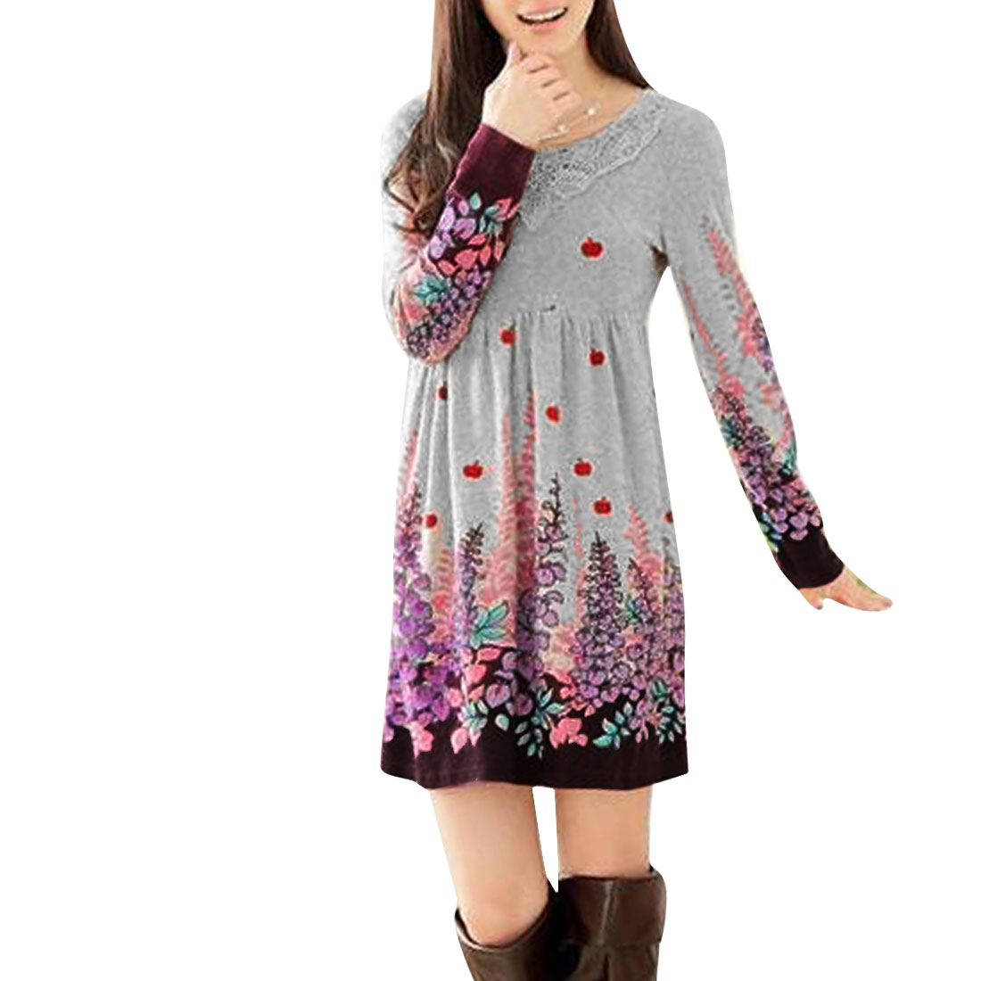 Ladies Chic Floral Pattern Purple Light Gray Spring Knitted Mini Dress XS