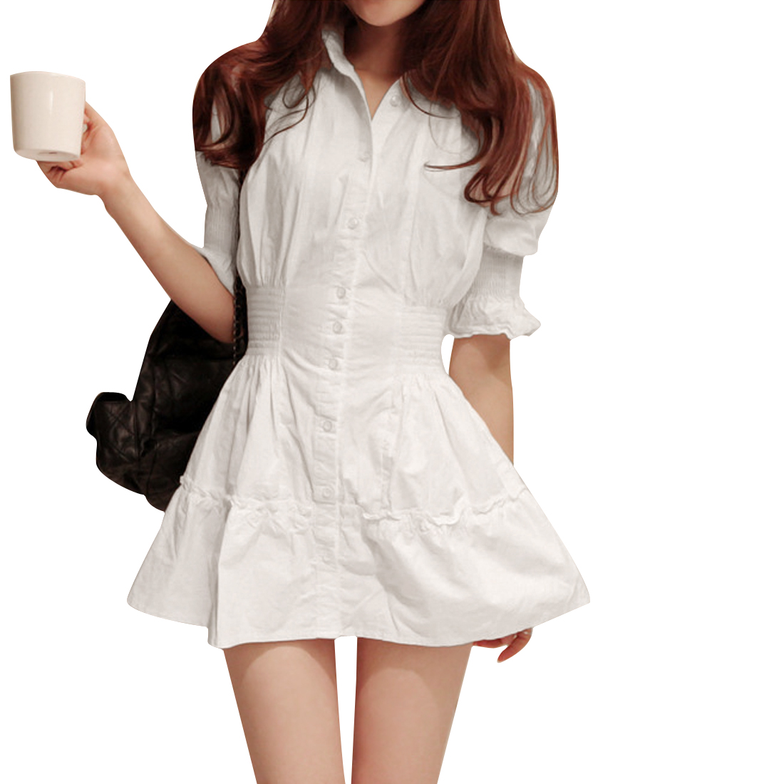 Women's Half Bell Sleeves Point Collar Ruched Design Elastic Waist Dress S White