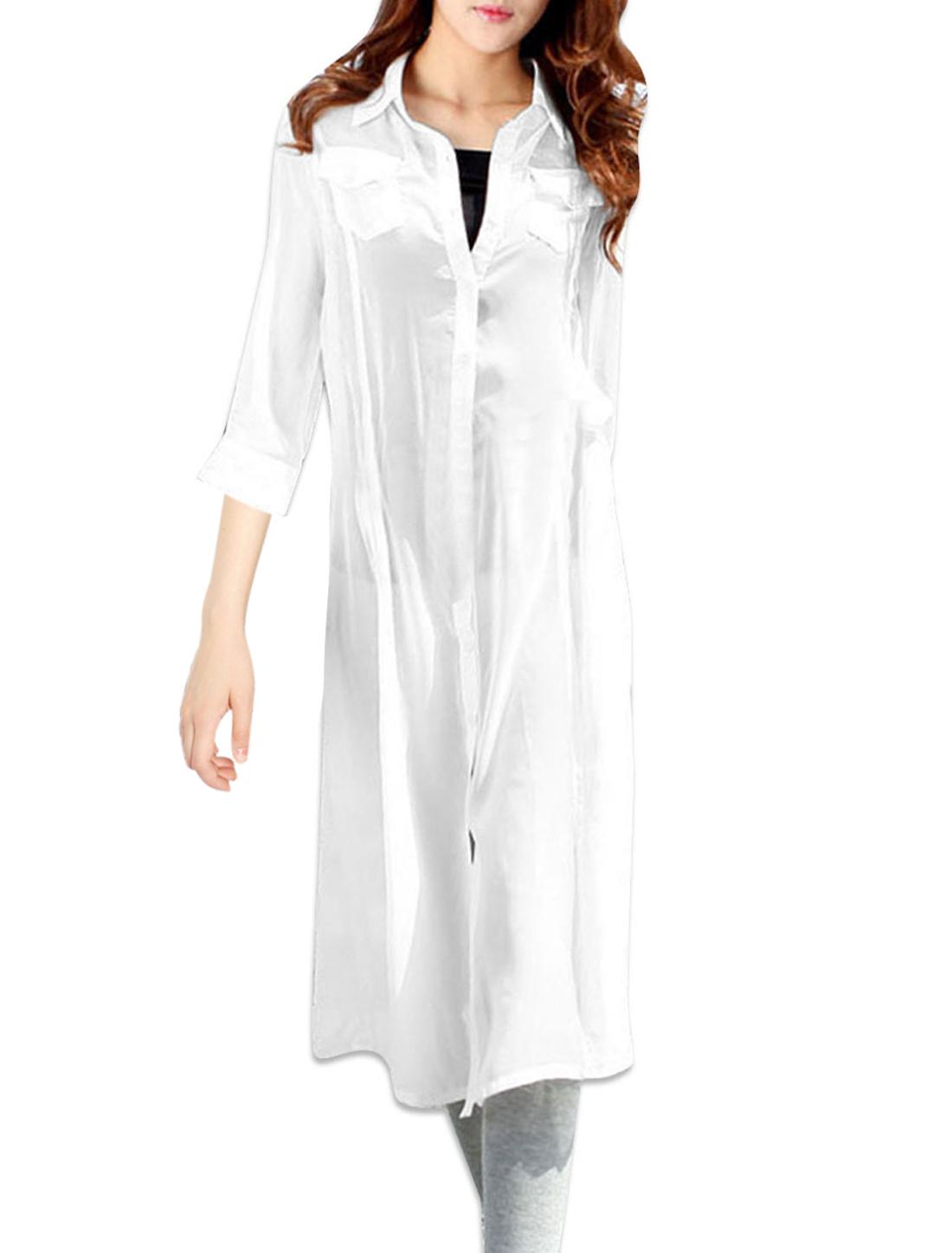 Woman Chic Pure White Color Button Down Semi-Sheer Chiffon Shirt Dress XS