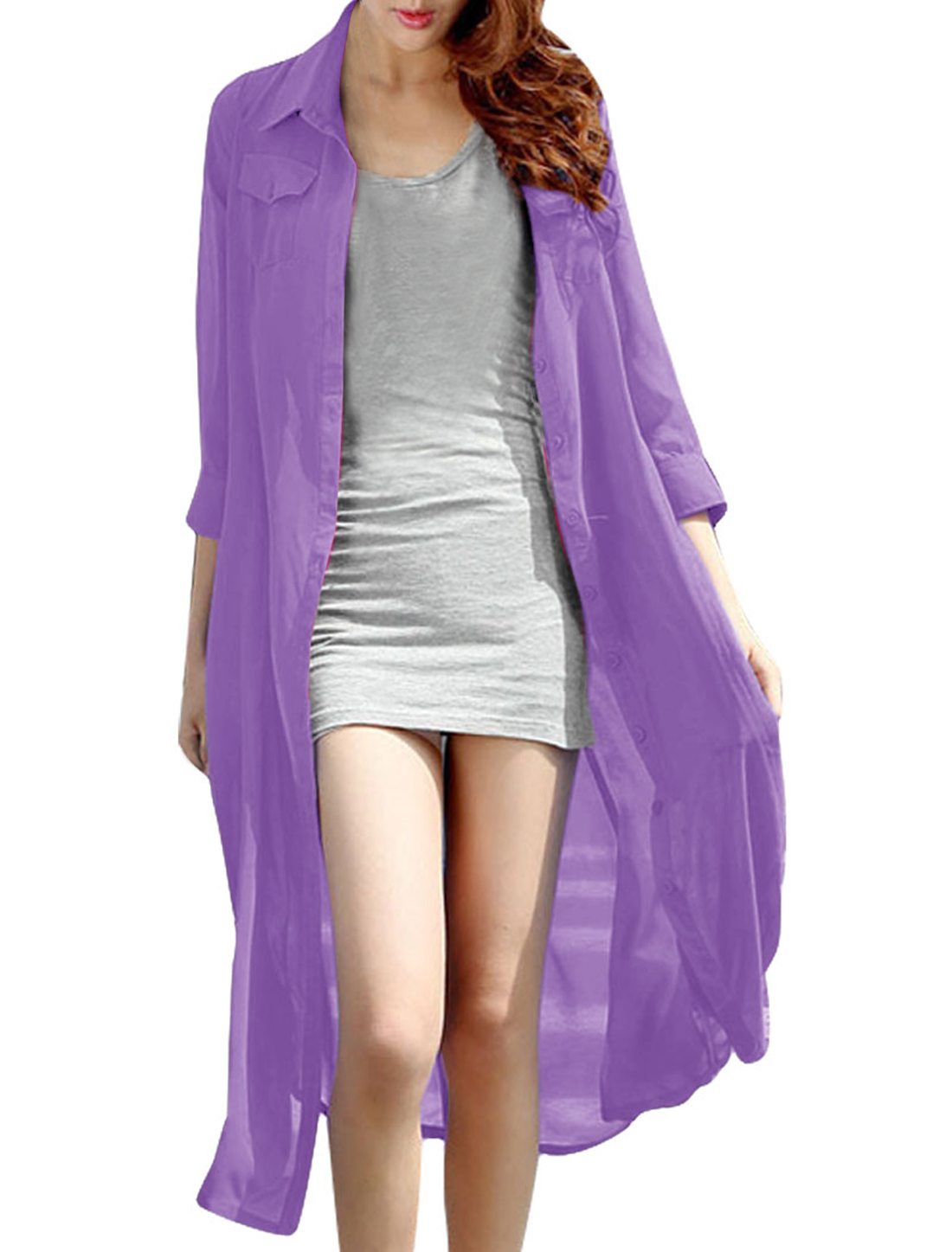 Women Chic Single-Breasted Front Lavender Color Button Down Shirt Dress XS