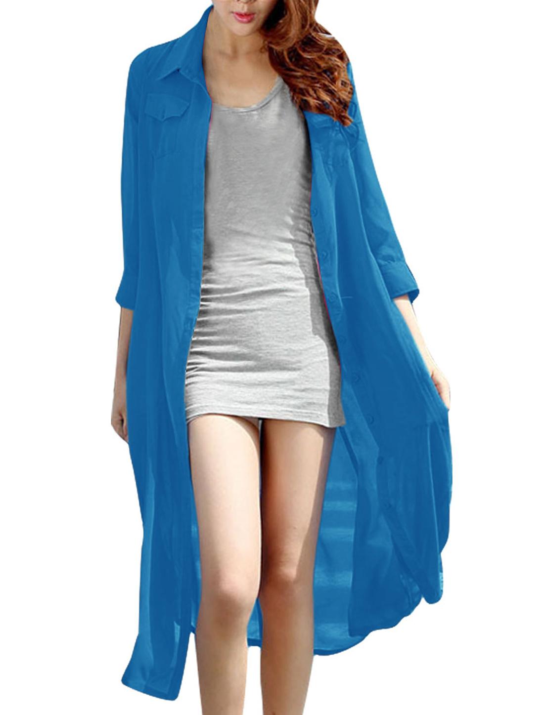 Lady Stylish Sky Blue Color Button Down Mid-calf Chiffon Shirt Dress XS
