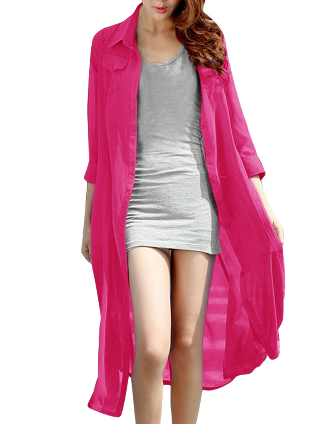 Ladies Point Collar 3/4 Sleeve Single-Breasted Front Fuchsia Shirt Dress XS