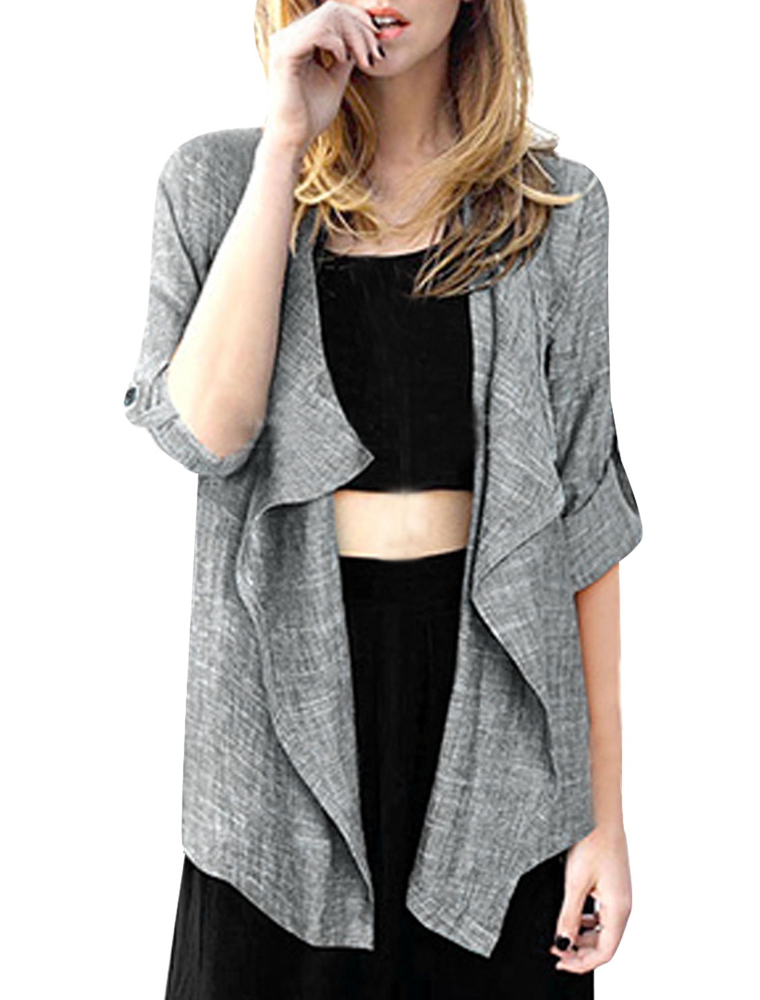Women's Open Front Buttonless High Low Hem Simple Gray S Cardigan