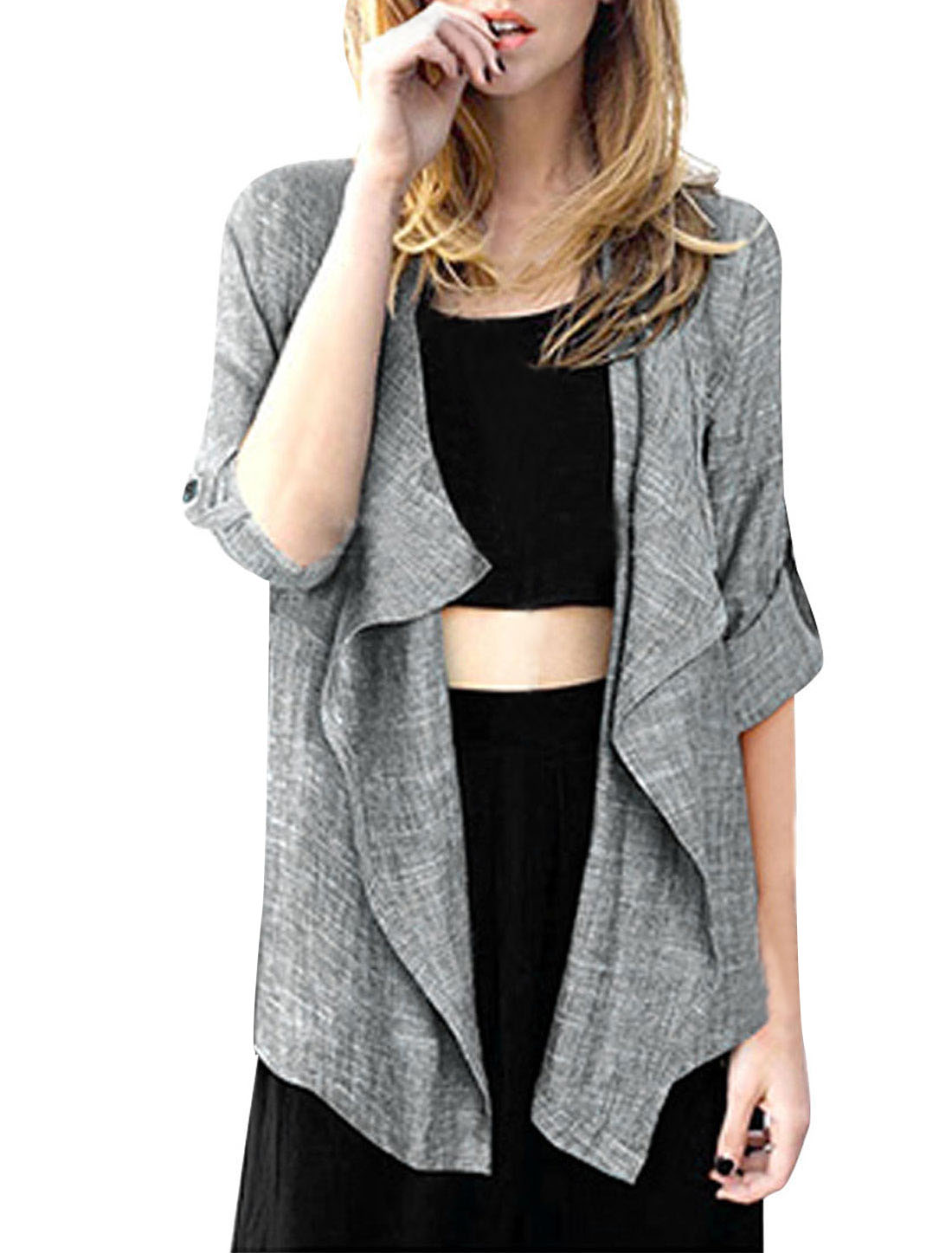Women's Front Opening Buttonless Irregular Hem Stylish Gray M Cardigan