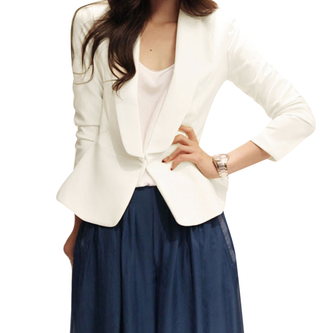 Women's Shawl Lapel Buttonless Stylish Long Sleeve XS White Blazer Jacket