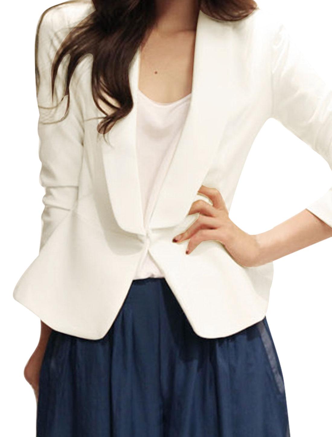 Women's Shawl Lapel Pure Long Sleeves Buttonless Stylish White S Blazer Jacket