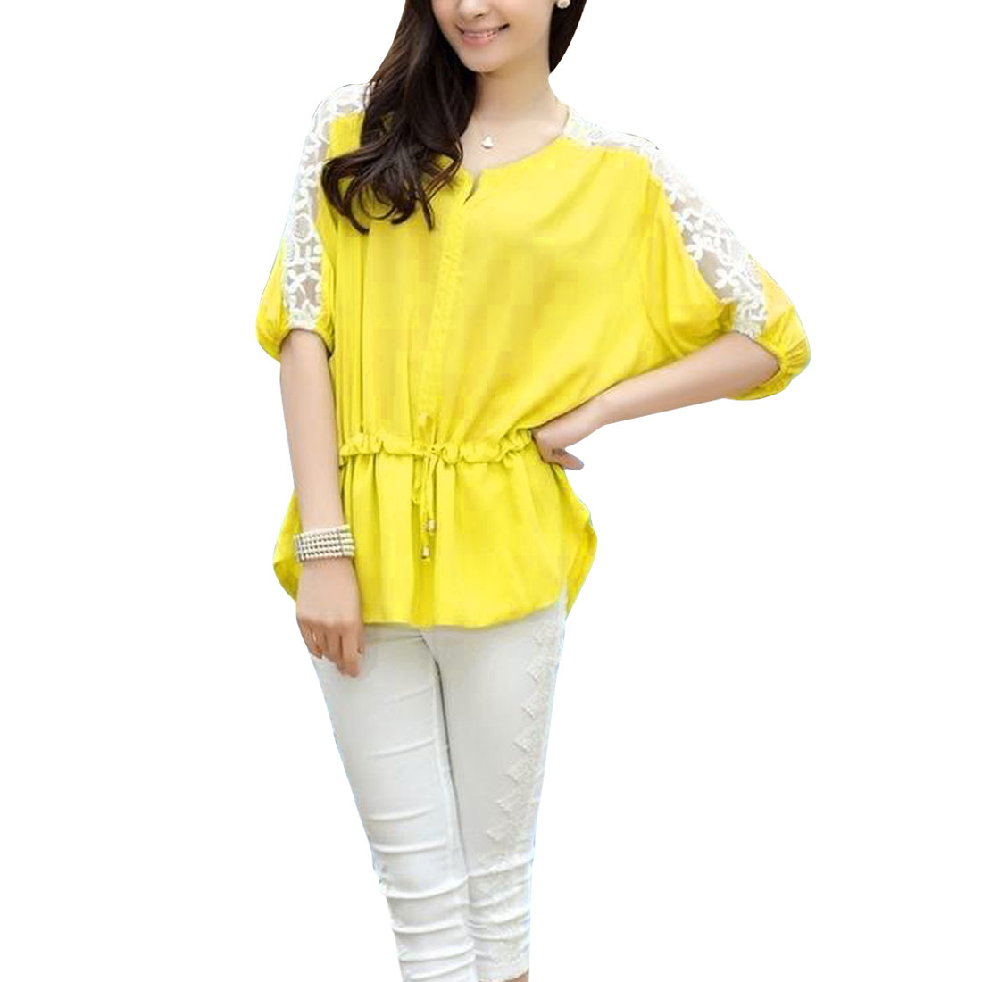 Women's Split Neck Panel Semi-sheer Sleeve Elastic Waist Yellow Chiffon Top S