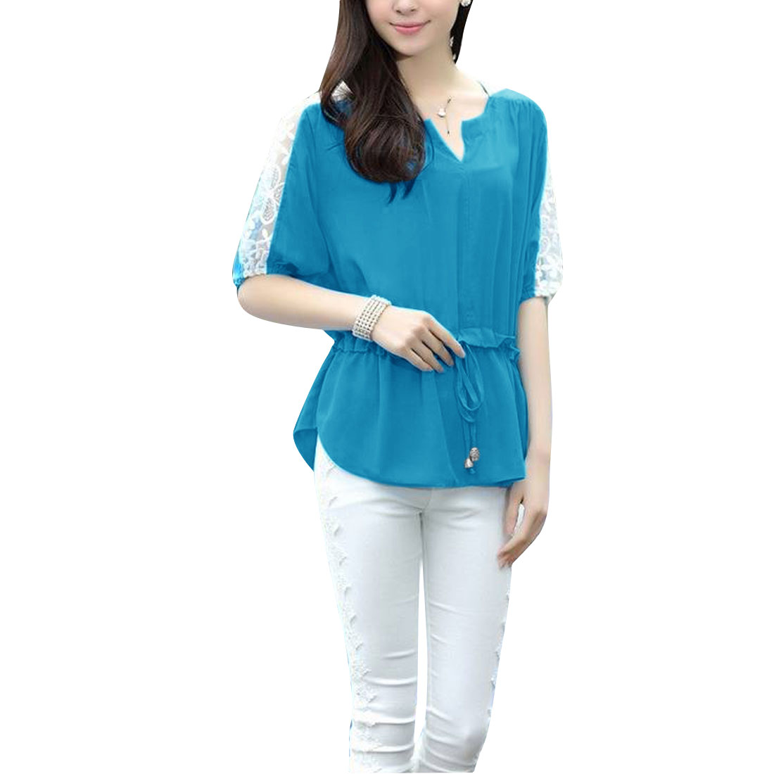 Women's Split Neck Panel Elastic Waist High Low Hem Chiffon Top Blue S