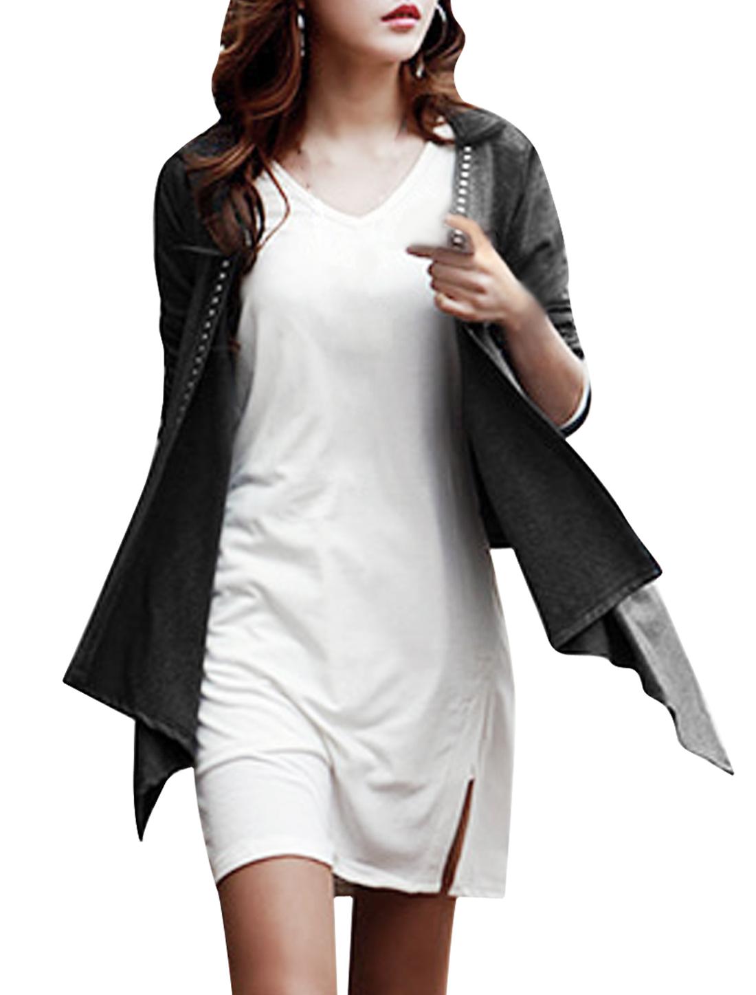 Women's Front Opening Rivet Decor Long Sleeves Stylish Dark Gray Cardigan S
