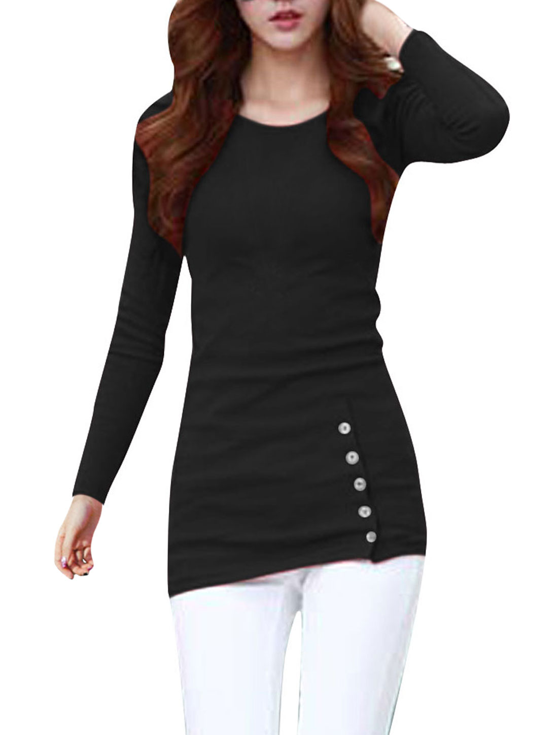 Woman Stylish Slant Button Decor Front Slim Fit Black Tunic Top Shirt XS