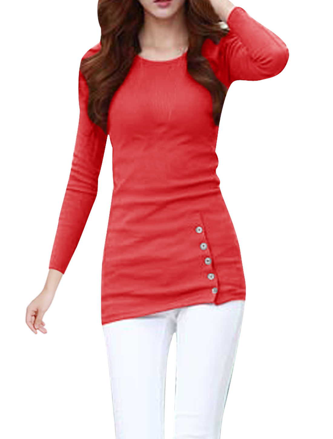 Pullover Stretchy Slim Fit Slant Button Decor Watermelon Red T-Shirt for Lady XS