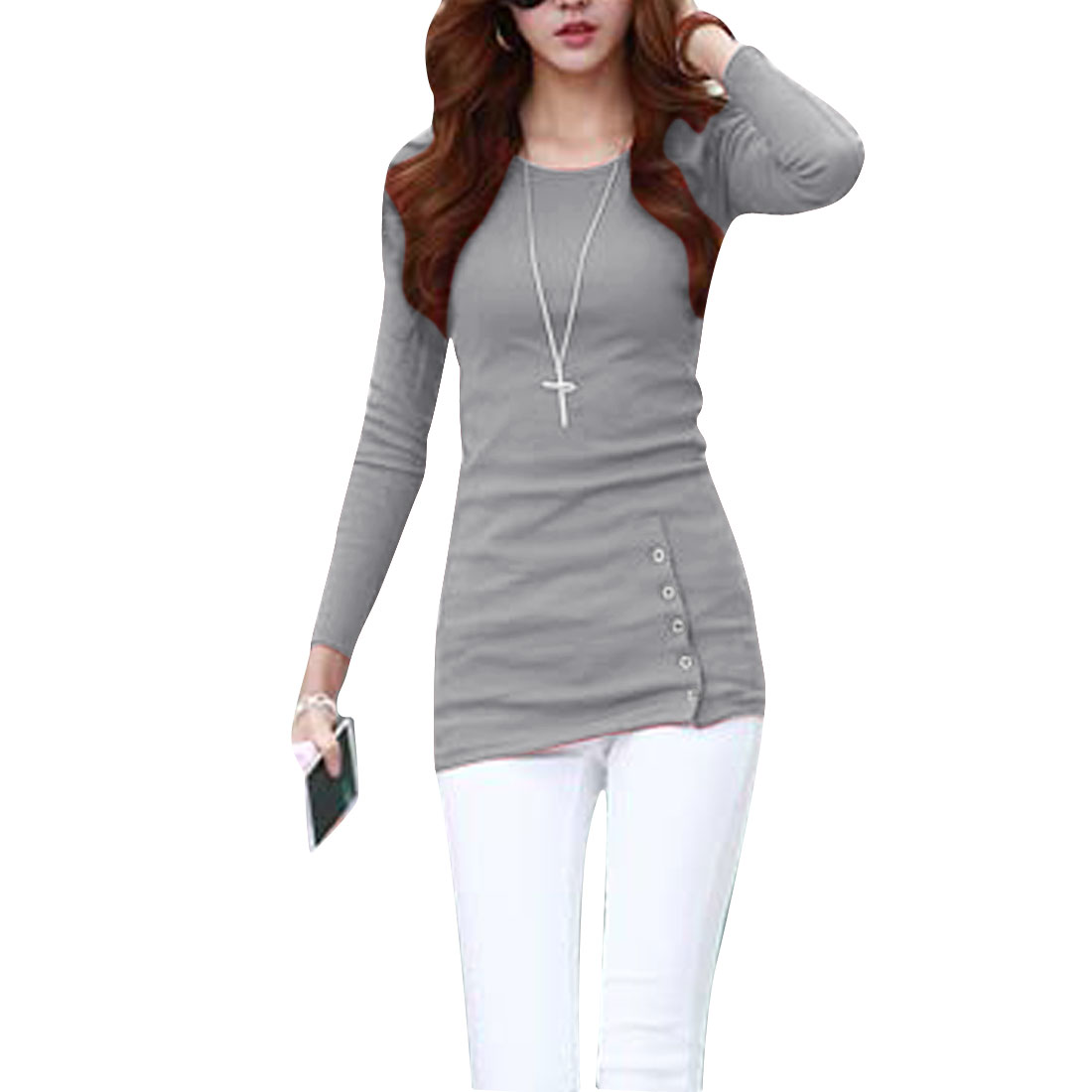 Ladies Round Neck Long Sleeve Button Decor Front Heather Gray Tee Shirt XS