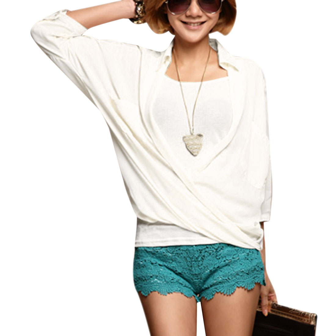 Women's White Front Opening 3/4 Batwing Sleeve Blouse With Tank Top Two Pieces Set S
