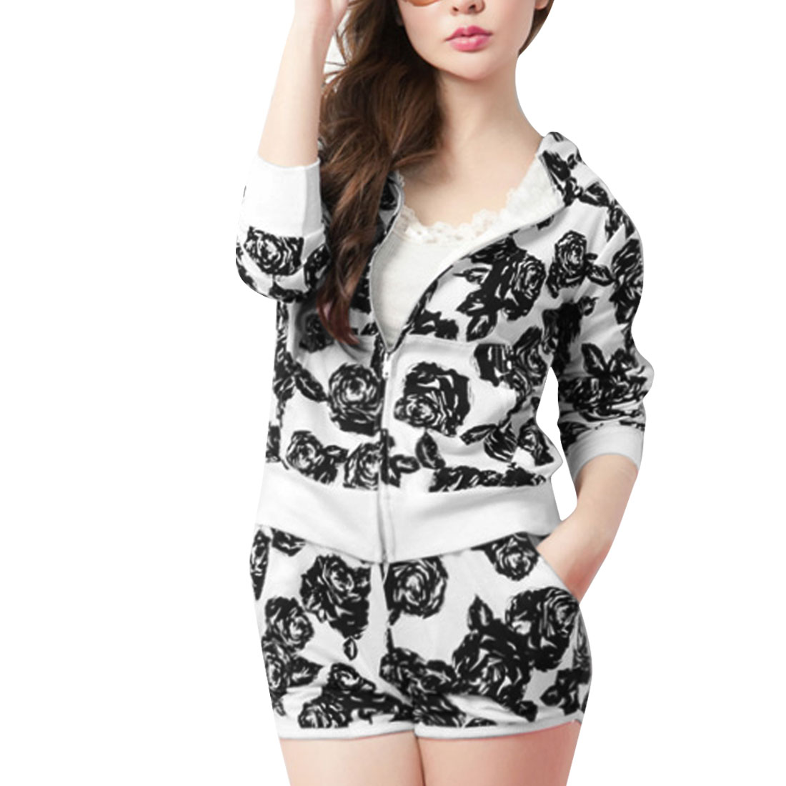 Woman Zip-Up Floral Hoodie w Elastic Waist Shorts Sets White XS