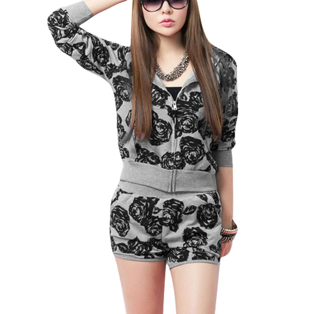 Woman Zip-Up Closure Floral Pattern Gray Black Coat w Elastic Waist Shorts XS