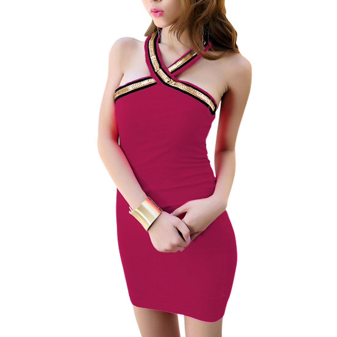 Women Club Wear Over Hip Fuchsia Halter Neck Sheath Dress XS