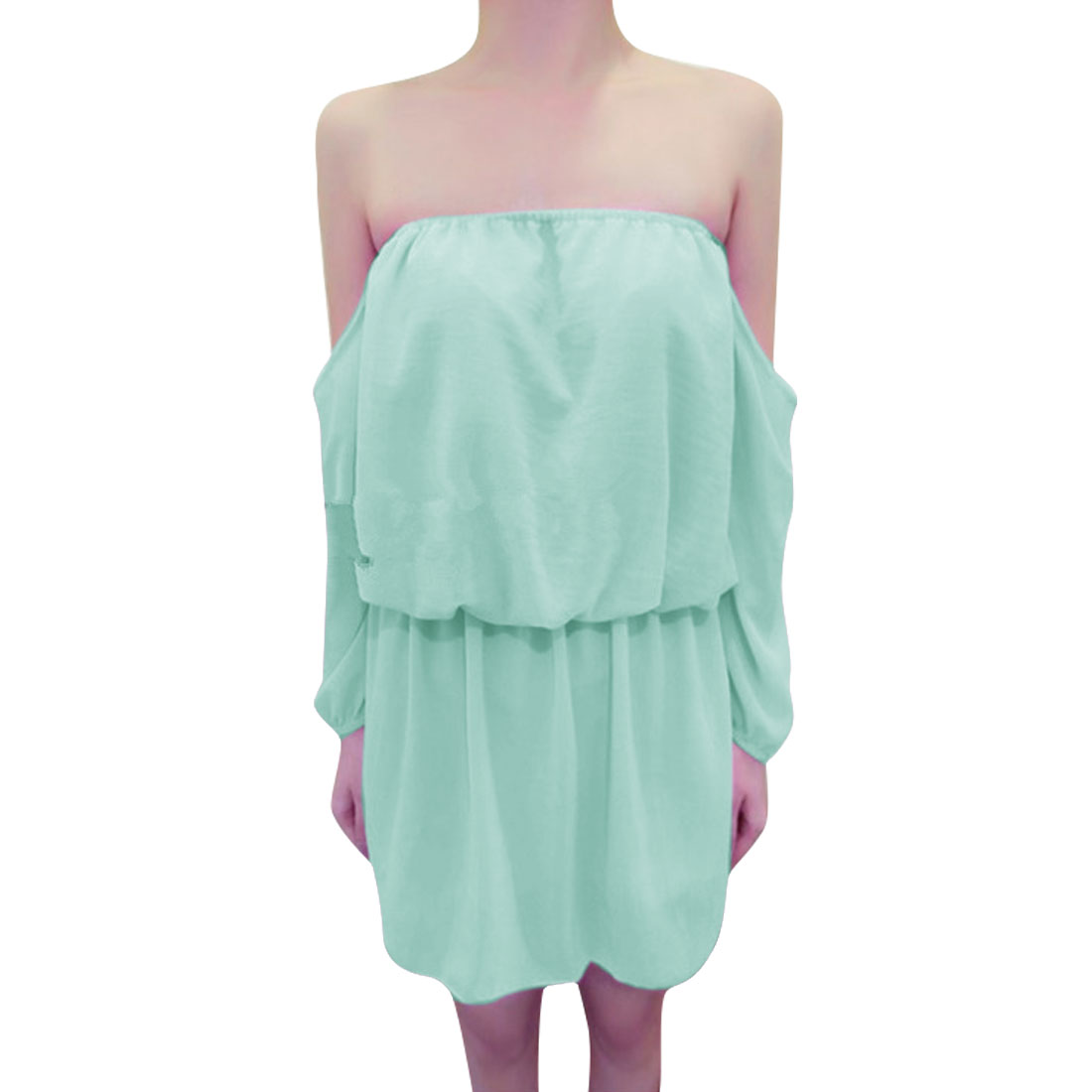 Women's Strapless Off Shoulder Long Sleeves Elastic Waist Mint Green Dress XS