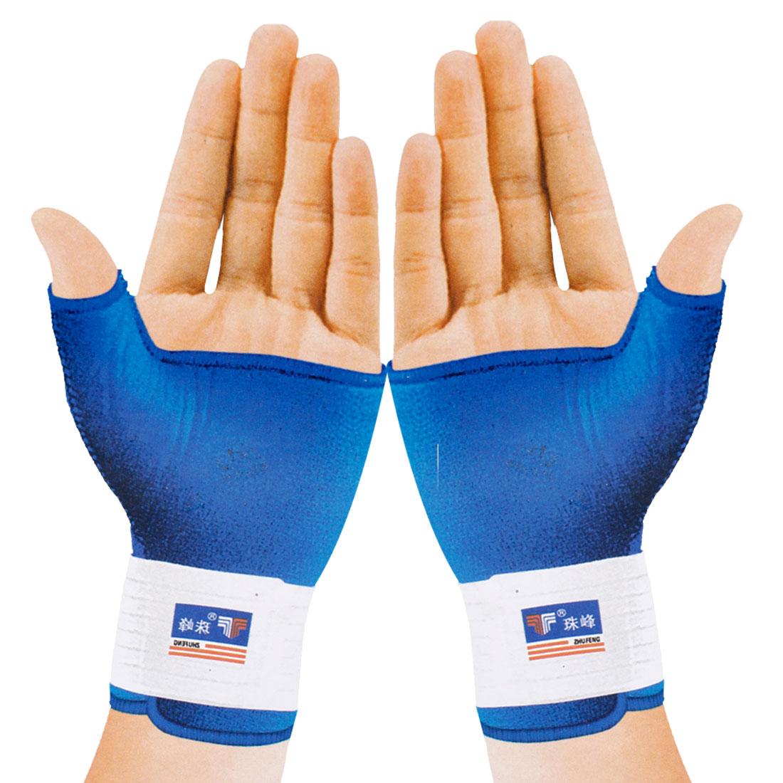 Sport Hook Loop Fastener Nonslip Protect Fingerless Gloves Wrist Thumb Shield