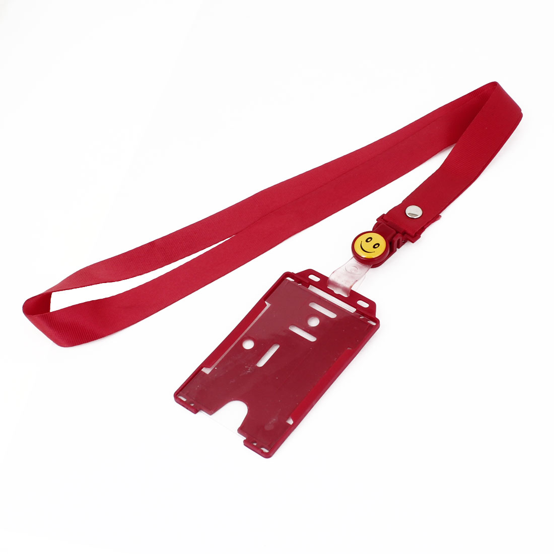 Plastic Name Business Credit ID Card Vertical Holder Red w Neck Strap
