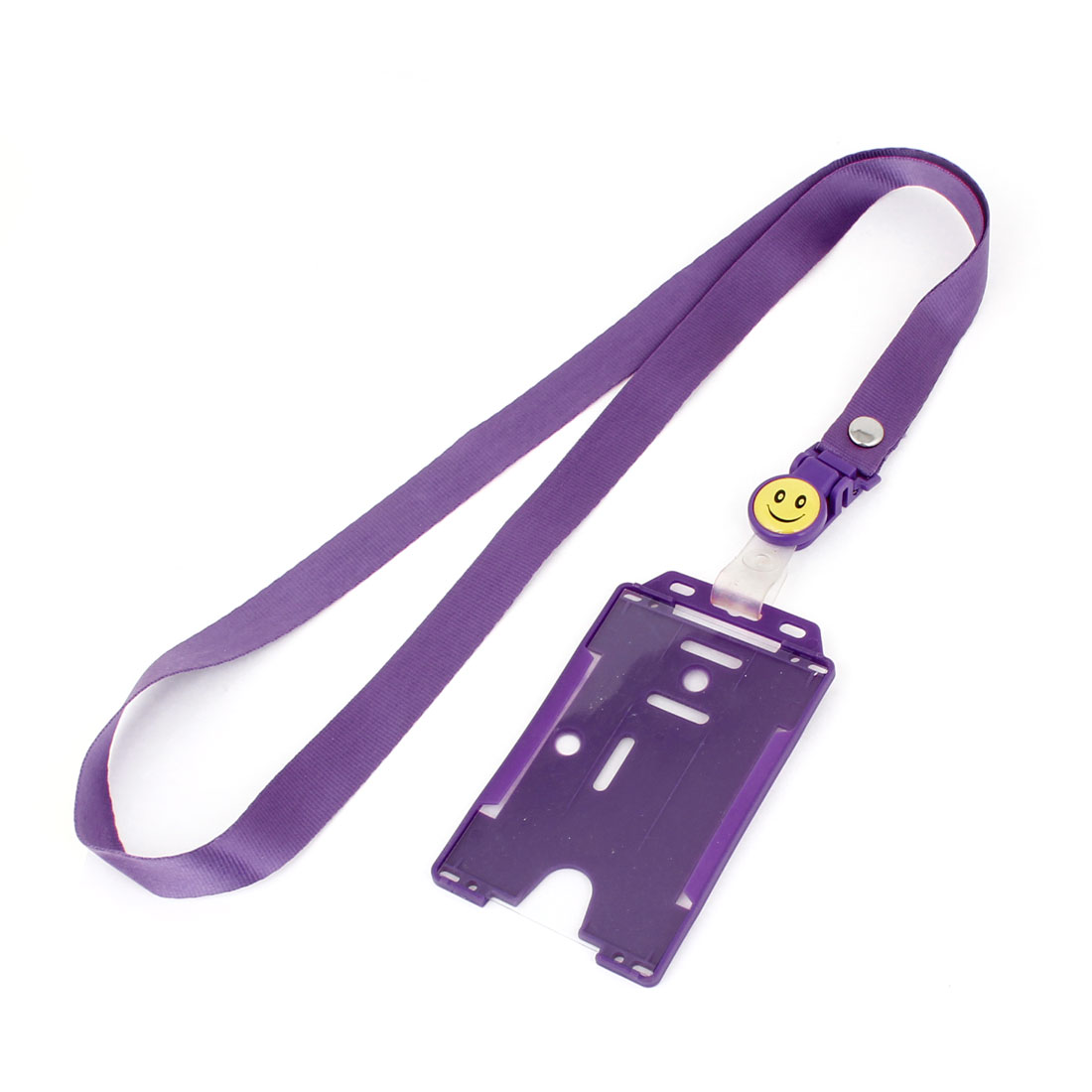 Purple Exhibition Business Badge Credit Card Vertical Holder w Neck Strap